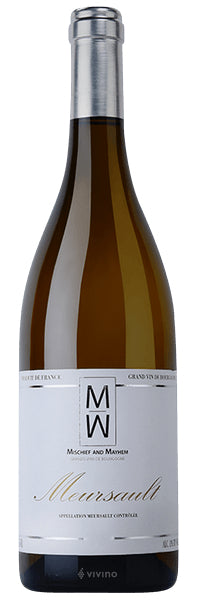 Burgundy white wine style bottle with label stating the 2017 vintage Meursault by Mischief & Mayhem, from Burgundy, France.