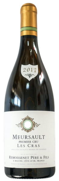 Burgundy white wine style bottle with label stating the 2017 vintage Meursault 1er Cru Les Cras by Remoissenet Père & Fils, from Burgundy, France.