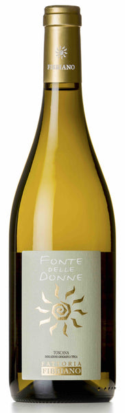 Tuscany white wine style bottle with label stating the 2018 vintage Toscana Bianco 'Fonte delle Donne' by Fattoria Fibbiano, from Tuscany, Italy.