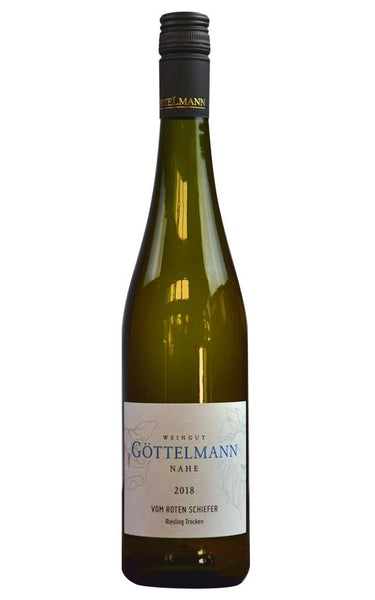 Nahe white wine style bottle with label stating the 2018 vintage Red Slate Riesling dry by Göttelmann, from Nahe, Germany.
