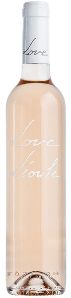 Provence rosé wine style bottle with label stating the 2018 vintage Love by Léoube by Château Léoube, from Provence, France.