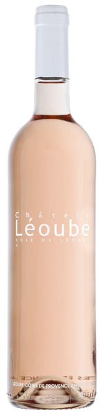 Provence rosé wine style bottle with label stating the 2018 vintage Rosé Léoube by Château Léoube, from Provence, France.