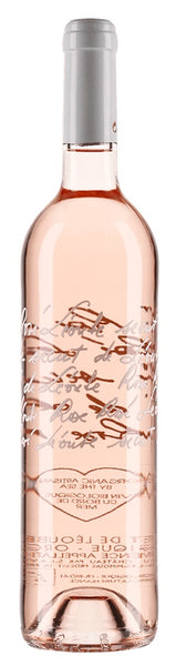 Provence rosé wine style bottle with label stating the 2018 vintage Secret de Léoube by Château Léoube, from Provence, France.