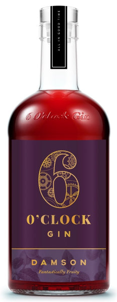 Spirits style bottle with label stating 6 O'clock  Damson Gin by Bramley & Gage Ltd, from Gloucestershire, England.