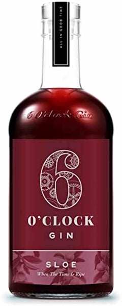 Spirits style bottle with label stating 6 O'clock Sloe Gin by Bramley & Gage Ltd, from Gloucestershire, England.