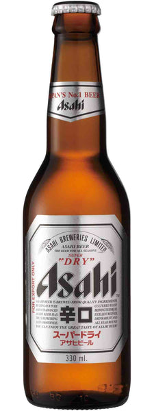 Beer style bottle with label stating Asahi Super Dry Premium Lager by Asahi Group Holdings, from Tokyo, Japan.