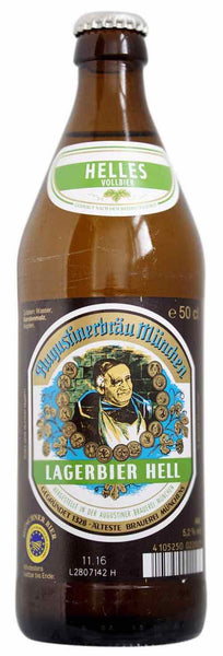 Beer style bottle with label stating Augustiner Lagerbier Hell Beer by Augustiner-Bräu, from Bavaria, Germany.