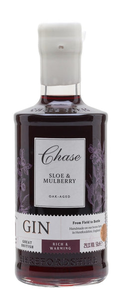 Spirits style bottle with label stating Chase Oak-Aged Sloe & Mulberry Gin by Chase Distillery Ltd, from Herefordshire, England.