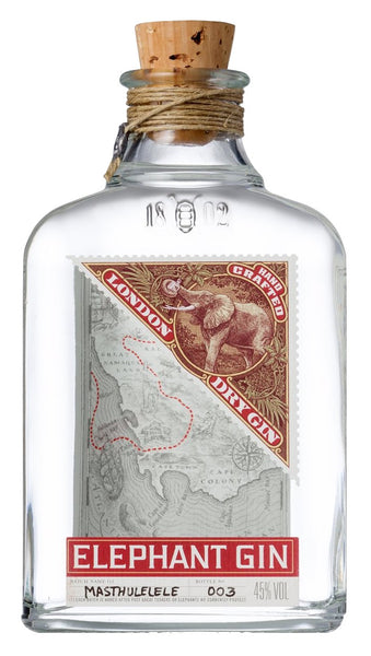 Spirits style bottle with label stating Elephant London Dry Gin by Elephant, from Saxony-Anhalt, Germany.