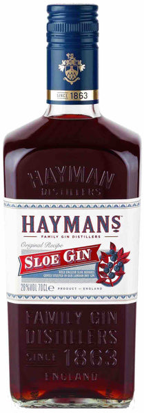 London style bottle with label stating the Hayman Sloe Gin spirit wine vintage by Hayman's from England.