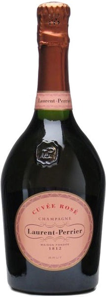 Champagne wine style bottle with label stating the Laurent Perrier Cuvée Rosé champagne wine vintage by Laurent Perrier.