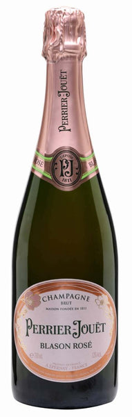 Champagne wine style bottle with label stating the Perrier-Jouët Blason Rosé champagne wine vintage by Perrier-Jouët.