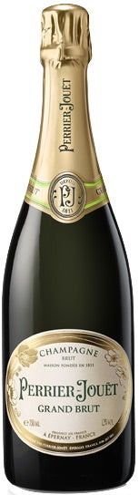Half Champagne wine style bottle with label stating the Perrier-Jouët Grand Brut Magnum champagne wine vintage by Perrier-Jouët.