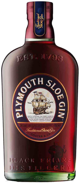 Devon style bottle with label stating the Plymouth Sloe Gin spirit wine vintage by Plymouth from England.
