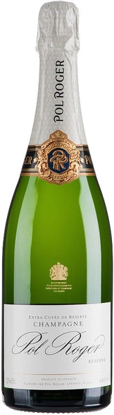 Champagne style bottle with label stating Pol Roger Extra Cuvée de Réserve champagne by Pol Roger, from Vallée d'Épernay, France.
