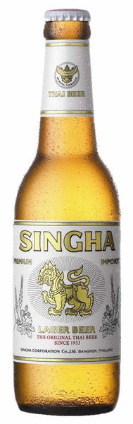 Beer style bottle with label stating Singha Beer by Singha Corporation Co. Ltd, from Bangkok, Thailand.