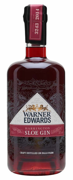 Northamptonshire style bottle with label stating the N/A Warner Edwards Sloe Gin spirit wine vintage by Warner Edwards Harrington from England.