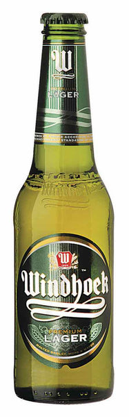 Longneck beer style bottle with label stating Windhoek Lager by Namibia Breweries Ltd, from Windhoek, Namibia.