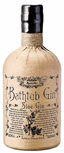 Spirits style bottle with label stating Ableforth's Bathtub Sloe Gin by Atom Supplies Ltd, from Kent, England.
