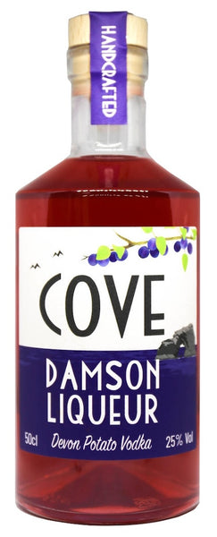Spirits style bottle with label stating Cove Damson Vodka by Devon Cove Produce Ltd, from Devon, England.