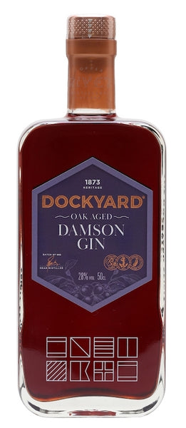 Spirits style bottle with label stating Dockyard Oak Aged Damson Gin by Copper Rivet Distillary Ltd, from Kent, England.