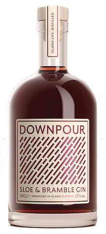 Spirits style bottle with label stating Downpour Sloe & Bramble by North Uist Distillery Co., from Outer Hebrides, Scotland.