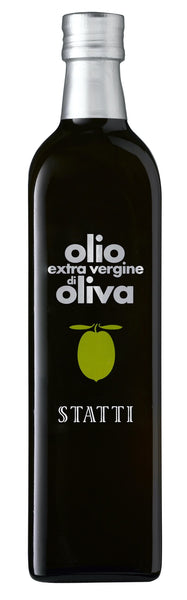 Olive Oil style bottle with label stating Extra Virgin Olive Oil 'Tradizionale' (75cl) by Statti , from Calabria, Italy.