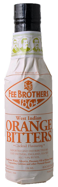 style bottle with label stating 1864 'West Indian' Orange Bitters by Fee Brothers, from New York, USA.
