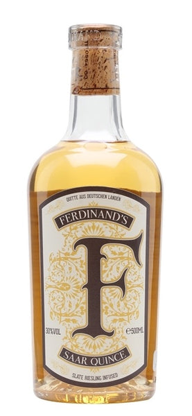 Spirits style bottle with label stating Ferdinand Saar Quince Gin by VDP winery Forstmeister Geltz-Zilliken, from Trier-Saarburg, Germany.