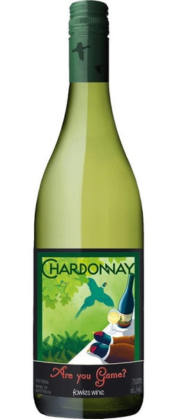 Victoria white wine style bottle with label stating the 2018 vintage Are You Game Chardonnay by Fowles Wine, from Victoria, Australia.