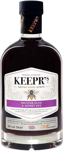 Spirits style bottle with label stating Keepr's British Sloe & Honey Gin by British Honey Company, from Oxfordshire, England.