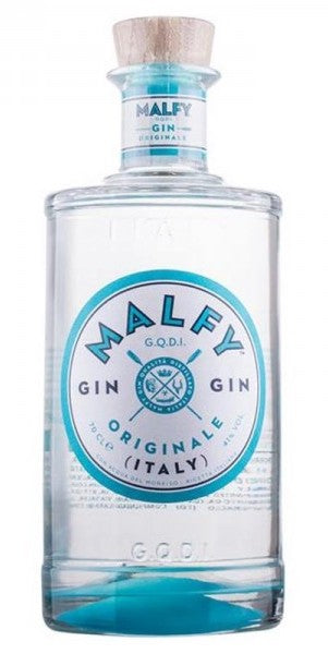 Spirits style bottle with label stating MALFY Originale Gin by Torino Distillati, from Piedmont, Italy.