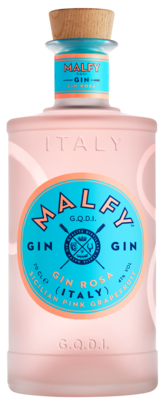 Spirits style bottle with label stating MALFY Pink Grapefruit Gin (Sicilian) by Torino Distillati, from Piedmont, Italy.