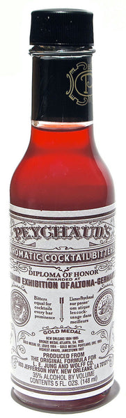style bottle with label stating Peychaud's Aromatic Bitters by Sazerac Company Inc (Buffalo Trace Distillery), from Kentucky, USA.