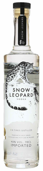 Spirits style bottle with label stating Snow Leopard Vodka by Edrington (Polmos Lublin), from Lublin Province, Poland.