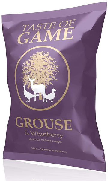 Purple packet of crisps stating Taste of Game, Grouse & Whinberry Crisps on the front, 100% British potatoes, England.