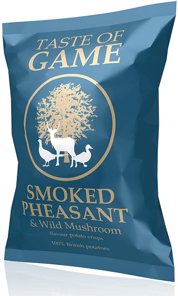 Dark turquoise blue packet of crisps stating Taste of Game, Smoked Pheasant & Wild Mushroom Crisps on the front, 100% British potatoes, England.