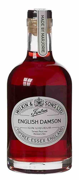Spirits style bottle with label stating Tiptree English Damson Gin by Wilkin & Sons Ltd, from Essex, England.