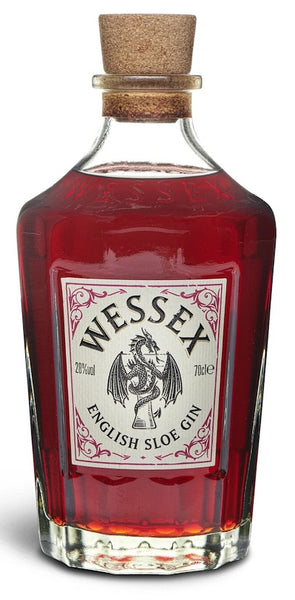 Spirits style bottle with label stating Wessex English Sloe Gin by Wessex Distillery Ltd, from Surrey, England.