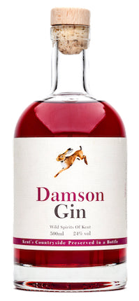 Spirits style bottle with label stating Wild Spirits Damson Gin by Wild Spirits of Kent, from Kent, England.