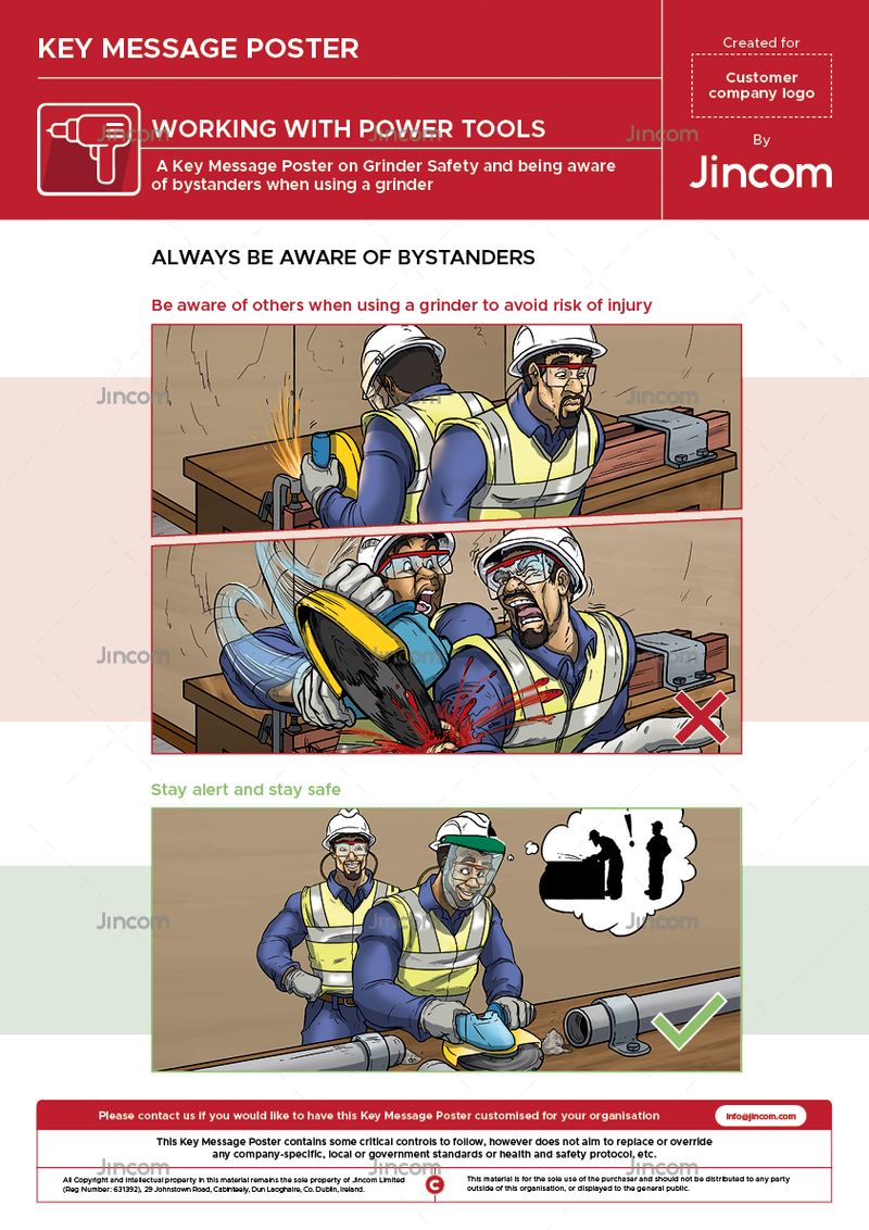 A safety poster on grinder safety