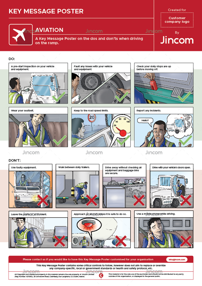 A safety poster on driving safety on or near the ramp at an airport.