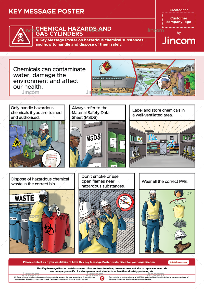 An illustrated safety poster on working with chemical hazards.