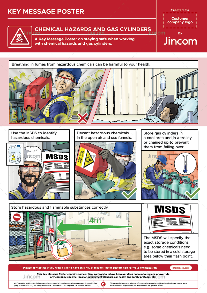 Chemical Hazards & Gas Cylinders | Key Message Poster