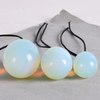 ‪NATURAL WHITE OPALITE DRILLED YONI EGGS (SET OF 3)