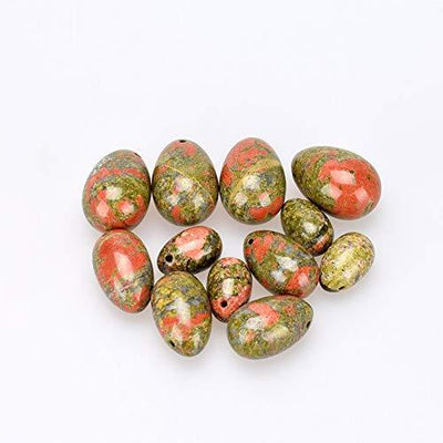 NATURAL UNAKITE JASPER STONE DRILLED YONI EGGS ( SET OF 3)