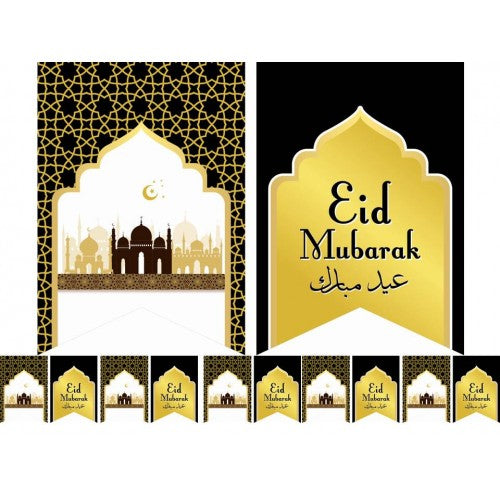 DESIGNER EID FLAGS - BLACK & GOLD - Baitul Hikmah Islamic Book and Gift Store