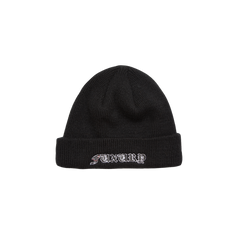 """FUXURY LOGO"" BLACK SHORT BEANIE HAT"