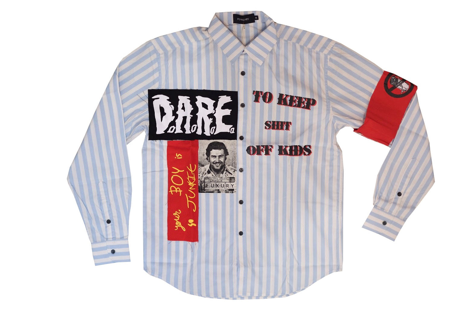 D.A.R.E (drugs are really expensive) PATCH BLUE SHIRT