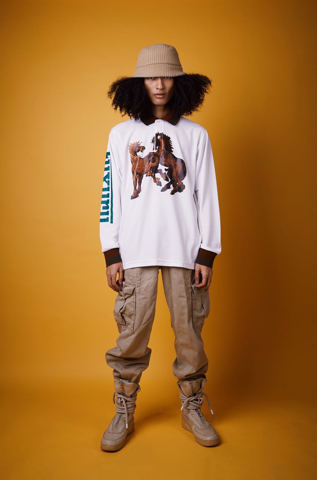 """HORSE POWER"" WHITE L/S POLO SHIRT"